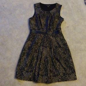 Cynthia Steffe black patterned leather trim dress